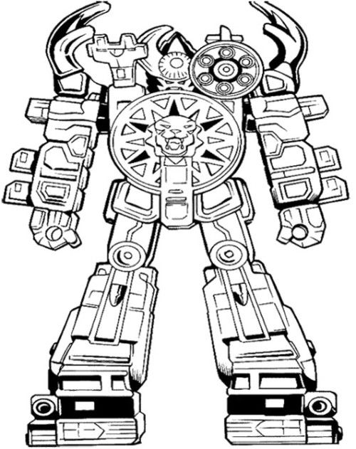 robot power rangers ready to fight coloring page