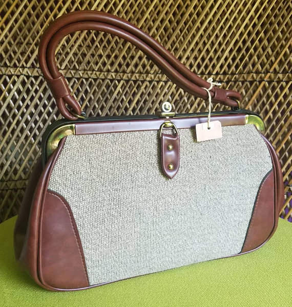 043bbc8339 Vintage Vinyl   Tweed Purse Brown Handbag DEADSTOCK