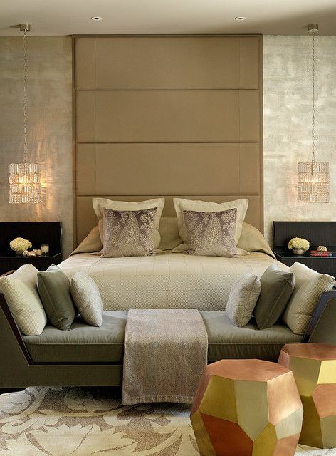: Adorable Home Decor Of Contemporary Bedroom With Brown Sofa Bed On Flowers Pattern Rug On The Floor