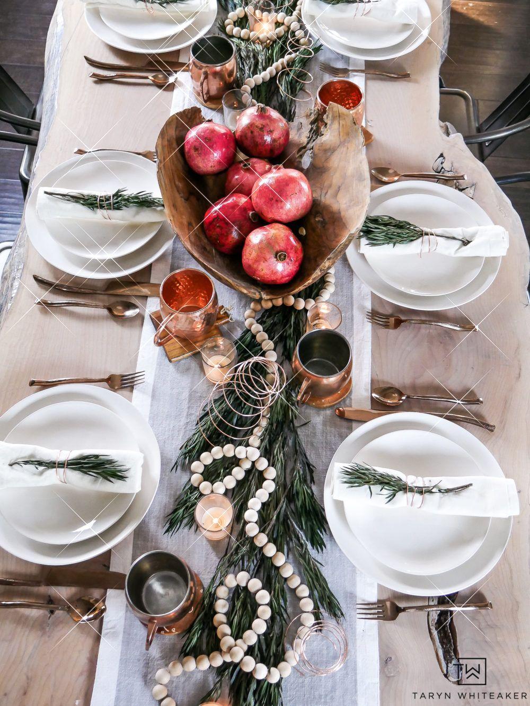 Organic Modern Christmas Table Taryn Whiteaker Christmas Dining Table Decor Modern Christmas Christmas Table