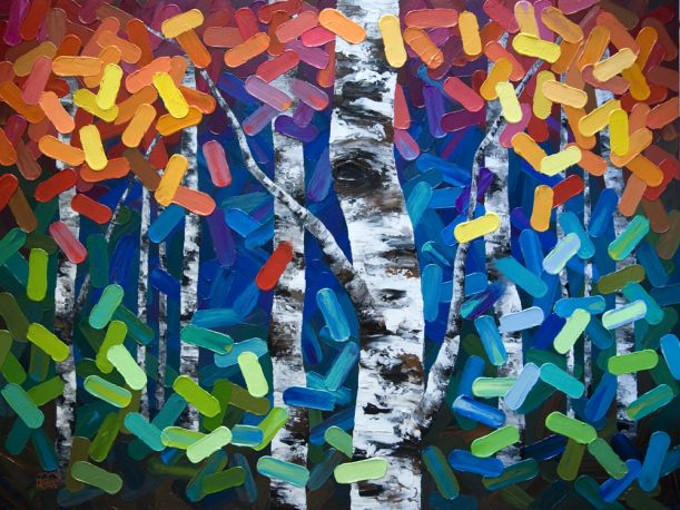 """COLOURFUL ART!  """"From Where We Come"""" 48″x36″ Nature inspired painting with bright green, turquoise, purple, blue, red, orange and yellow.   Contemporary Abstract Landscape Artist Melissa McKinnon features BIG COLOURFUL PAINTINGS of Aspen & Birch Trees, Rocky Mountains and stunning views of the Canadian prairies, big skies and ocean beaches. Website & Blog: www.melissamckinnon.wordpress.com"""