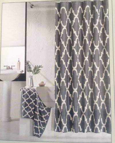 Hotel 21 Fabric Shower Curtain Charcoal Gray White Lattice Geometric Modern