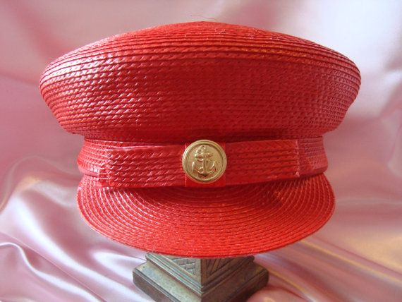 Red Nautical Hat Ladies Sailor Hat by couturecafe on