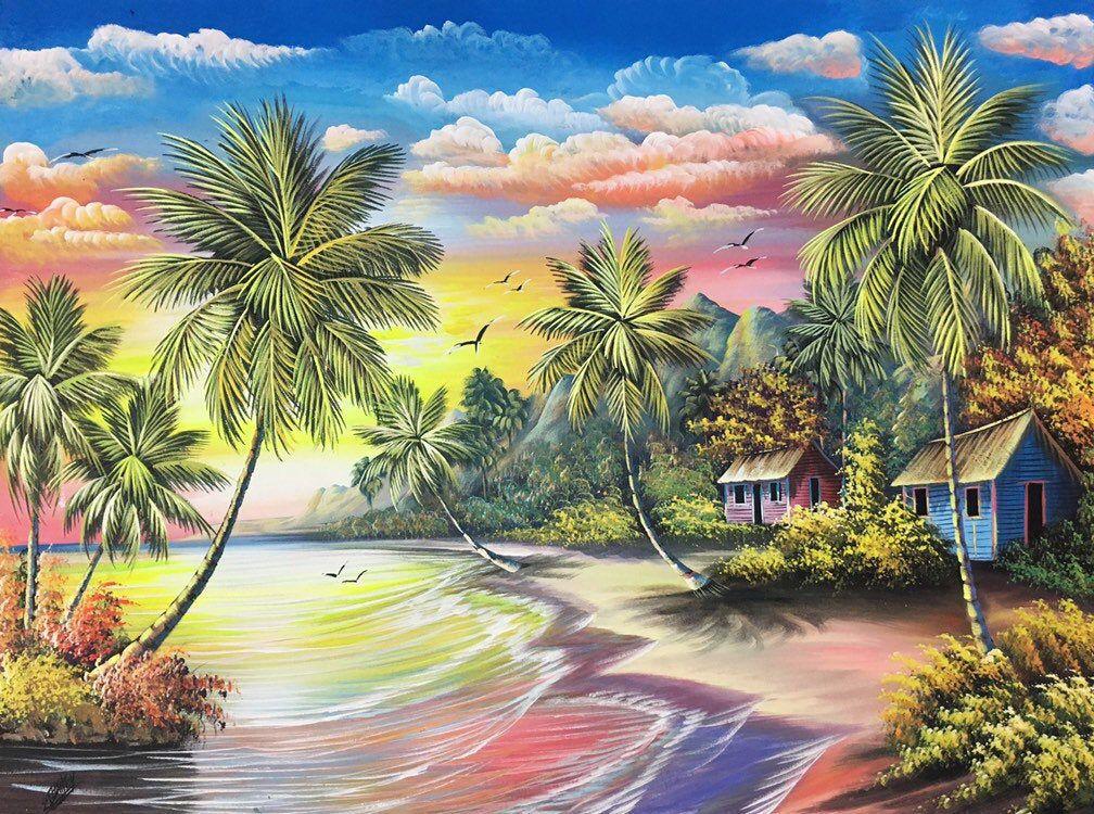 Beach Painting On Canvas Oil Painting Beach Landscape Etsy Caribbean Art Oil Painting Landscape Beach Oil Painting