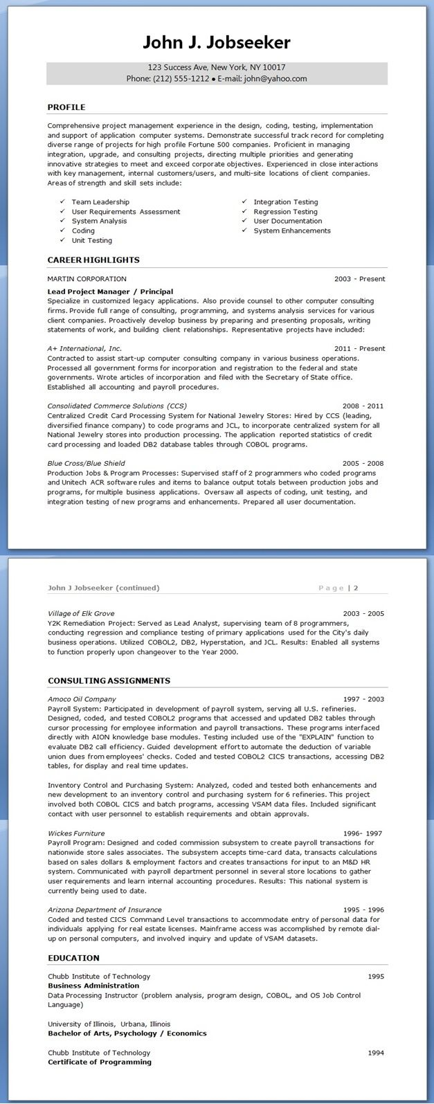 Project manager resume creative resume design templates - Project management office objectives ...