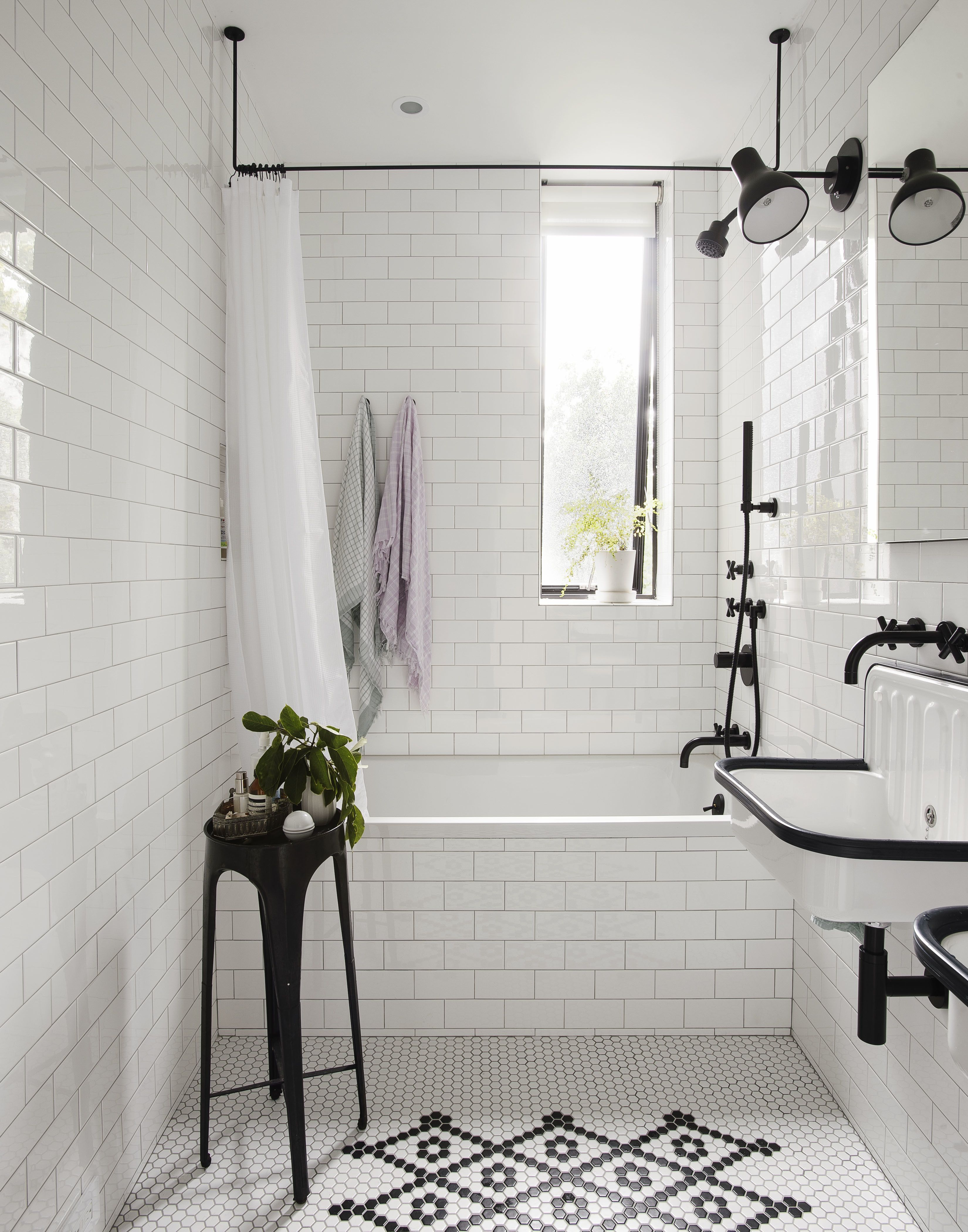 White Black Kids Bathroom Stool Table Ceiling Mounted Shower Curtain Rod Slender Window