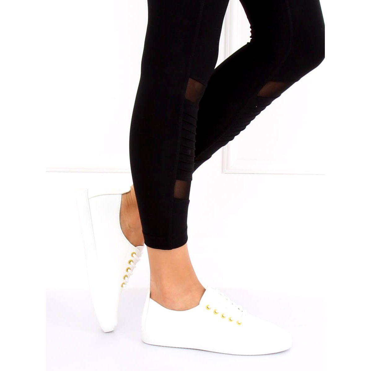 Trampki Damskie Biale Wd009 White Yellow Fashion Black Jeans Black