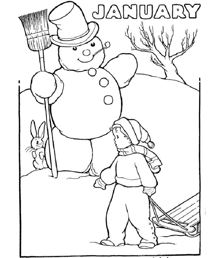 January Winter Coloring Pages   Coloring pages, Coloring ...