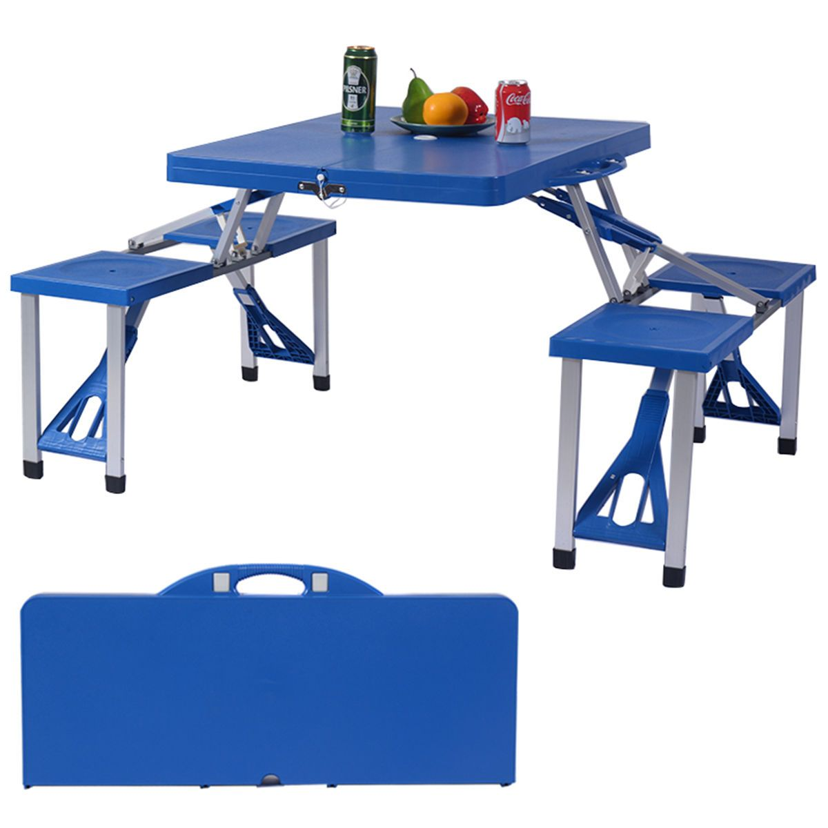 outdoor foldable portable aluminum plastic picnic table camping w bench 4 seat