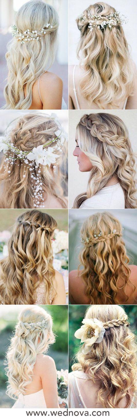 Wedding hairstyles for long hair bridesmaid simple half up 41 Super ideas | Simple wedding ...