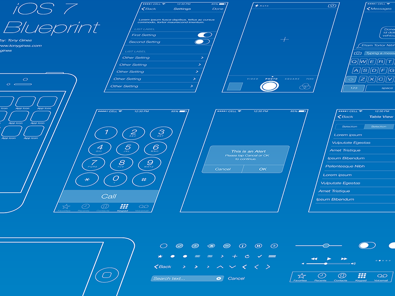 Ios 7 wireframe blueprint wireframe ios wireframe blueprint graphics get a head start on your ios 7 app development process with the ios 7 wireframe blueprint built i by tony gines malvernweather Images