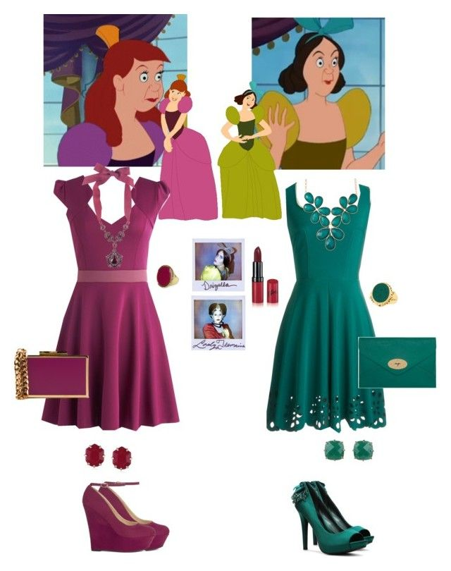 Evil step sisters by lj-case on Polyvore featuring polyvore, fashion, style, JustFab, ABS by Allen Schwartz, Mulberry, Lanvin, Sparkling Sage, Les Néréides, Kendra Scott, Jenny Bird, Rimmel, Disney and clothing