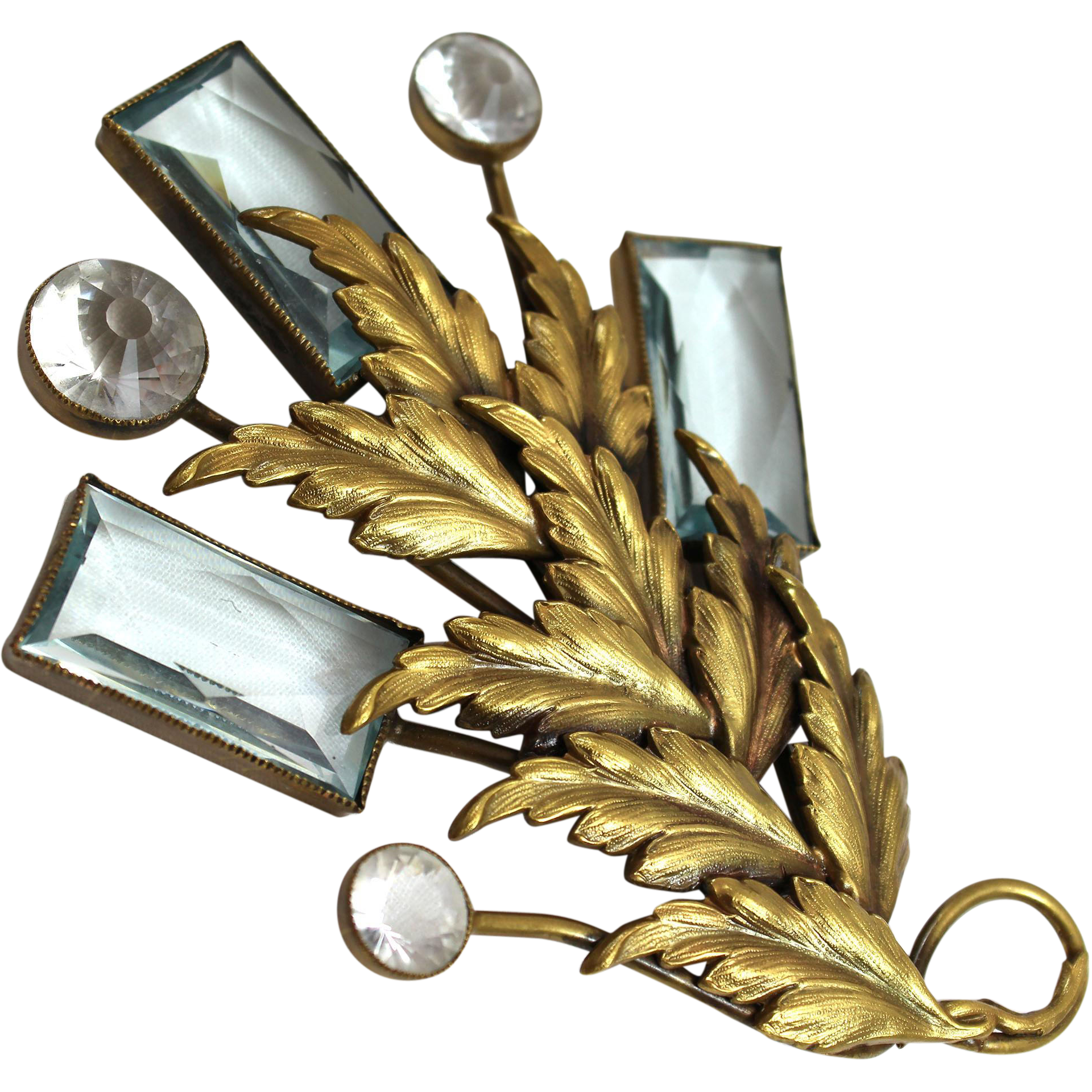 Joseff Hollywood Leaf Pin with 3 Aquamarine and 3 Crystal Cut Stones