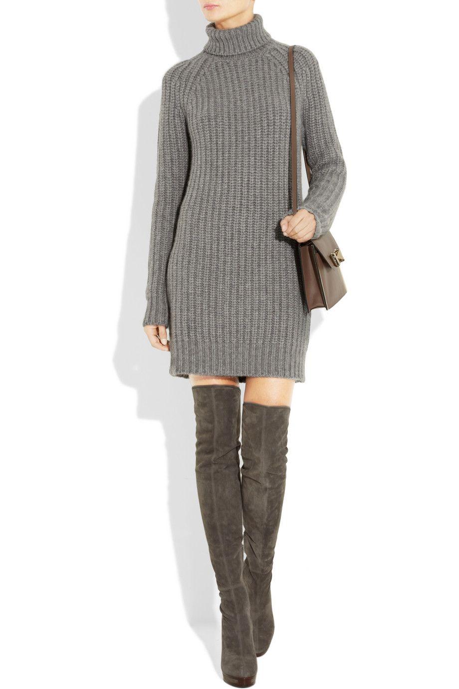 b2da6fd3f62 Knitted Cashmere Turtleneck Sweater Dress by Michael Kors