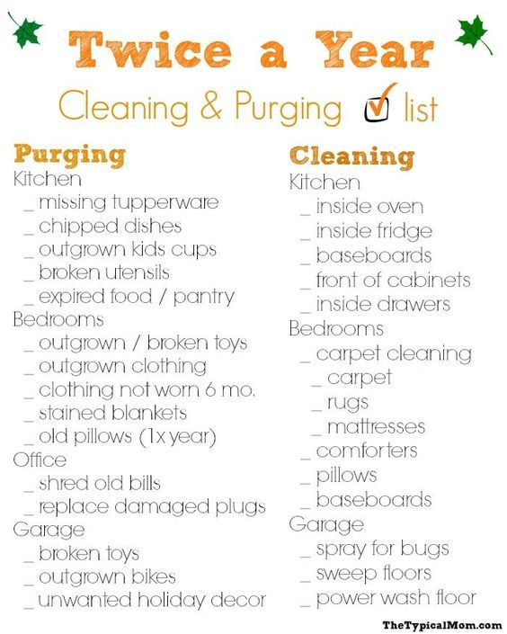 Free printable cleaning checklist. What you should clean and purge twice a year...this has helped tremendously! AD #stayclean2016 #rugdoctordifference