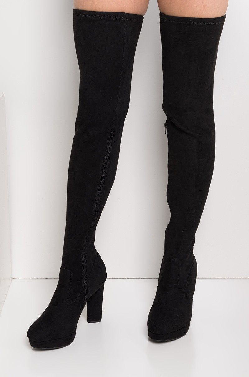 4f49d60d0b8 Front View Over The Knee Platform Boots in Black | Shoes | Boots ...