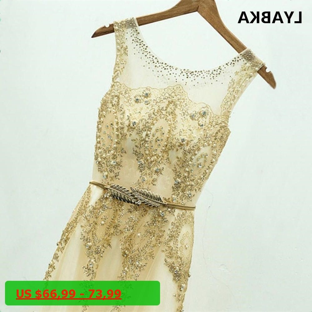 new tulle lace muslim gold evening dresses long formal gown