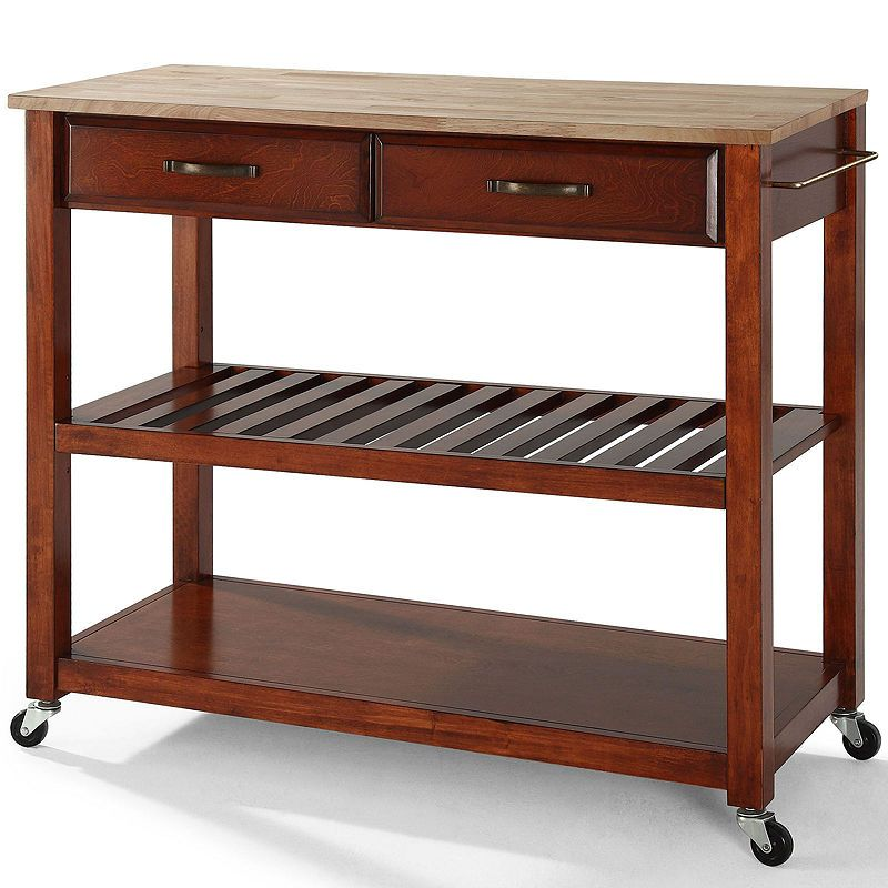 Boraam Drop Leaf Wood Kitchen Cart With Stainless Steel Top