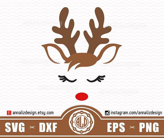 Reindeer Svg Face Christmas Deer Head