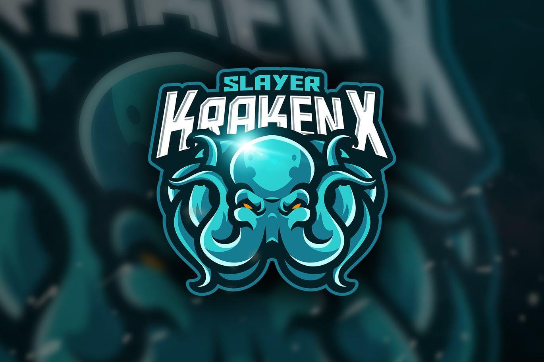 slayer krakenx mascot esport logo template ai eps download