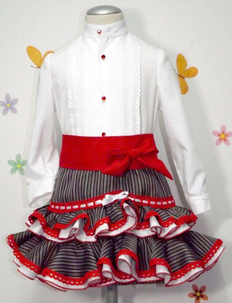 17abbea11 Traje campero para niña de camisa y falda