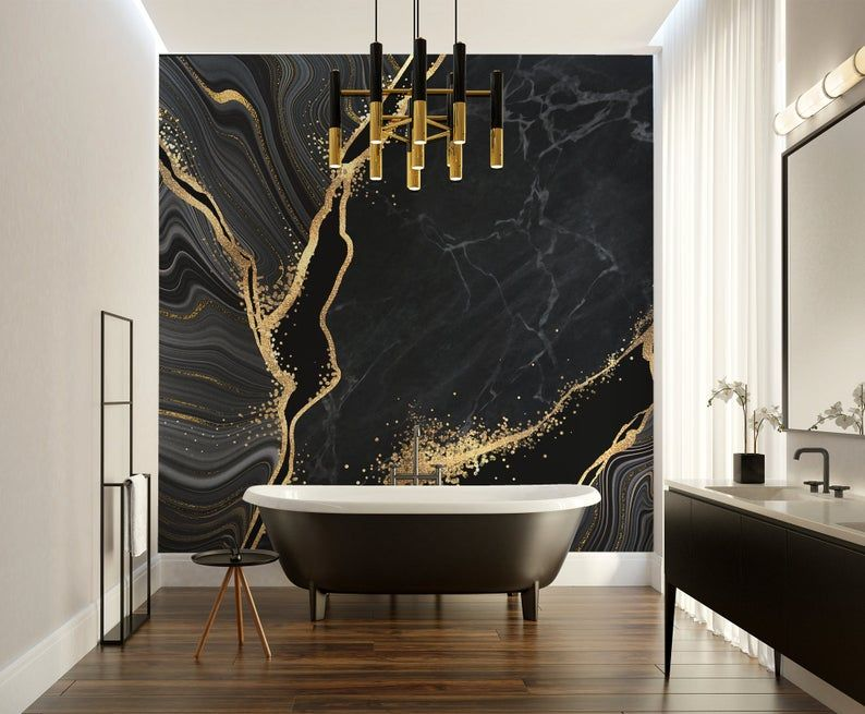 Black And Yellow Marble Photo Wallpaper No Metallic Effects Etsy In 2021 Black And Gold Marble Yellow Marble Photo Wallpaper
