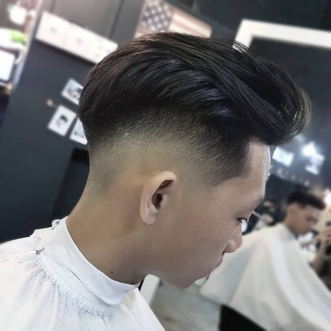 asian drop fade comb over modern pompadour by chuhaw barber