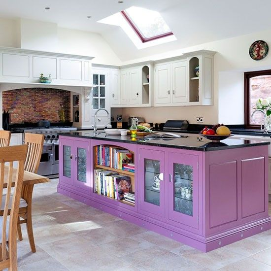 Purple Painted Kitchen Island Colourful Ideas Photo Gallery Beautiful Kitchens Housetohome Co Uk