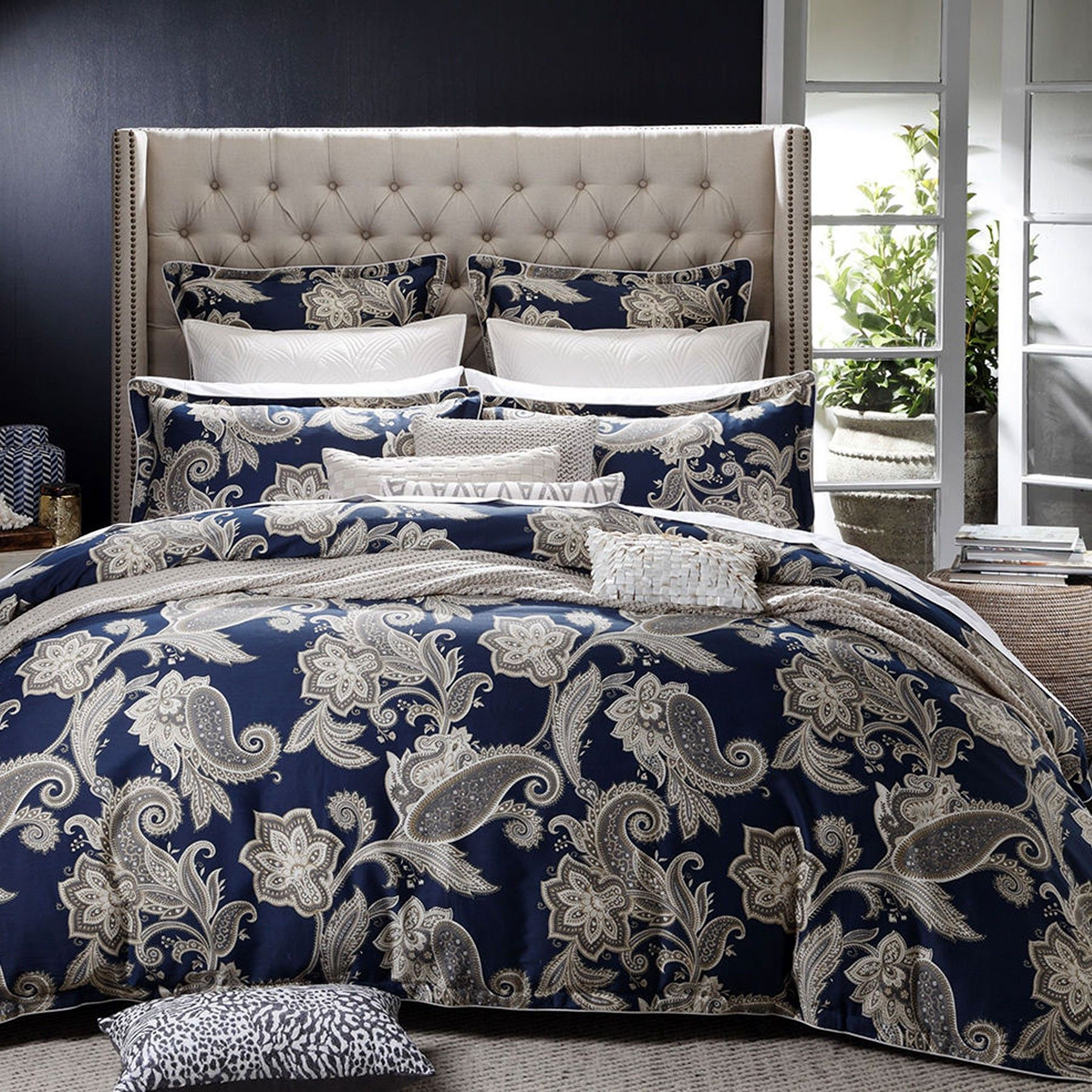 Alexandra Navy Quilt Cover Set by Private Collection | Quilt Cover ... : quilt cover australia buy online - Adamdwight.com