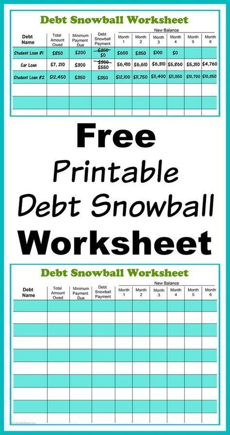 Free Printable Debt Snowball Worksheet- Perhaps the best way to pay