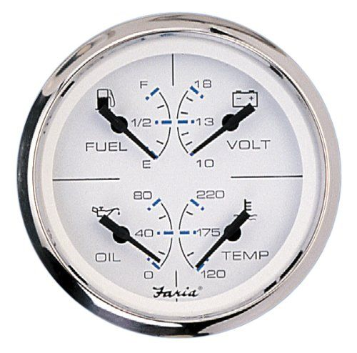Faria 33851 Chesapeake Combo Gauge Perimeter Lighted White Dial With Stylish Blue And Black Graphics Polished Stainless Steel Bezel Oil Water Gauges Oils