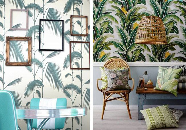 zoom sur les tendances la d co tropicale tapisserie pinterest deco exotique deco jungle. Black Bedroom Furniture Sets. Home Design Ideas