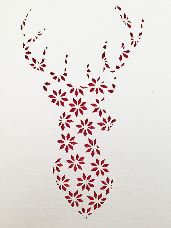 Christmas Papercut Template Reindeer Stag Pattern Holiday Fairisle Papercutting Festive Cutout Poinset Merry Christmas Card Christmas Cards Christmas Templates