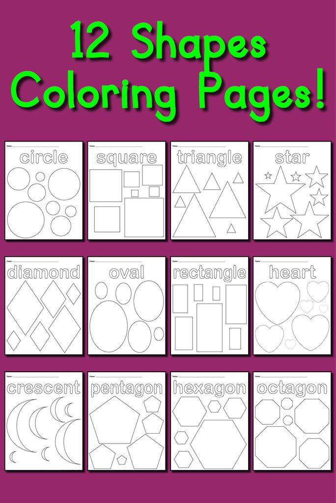 12 Shapes Coloring Pages Shape coloring pages, Teaching