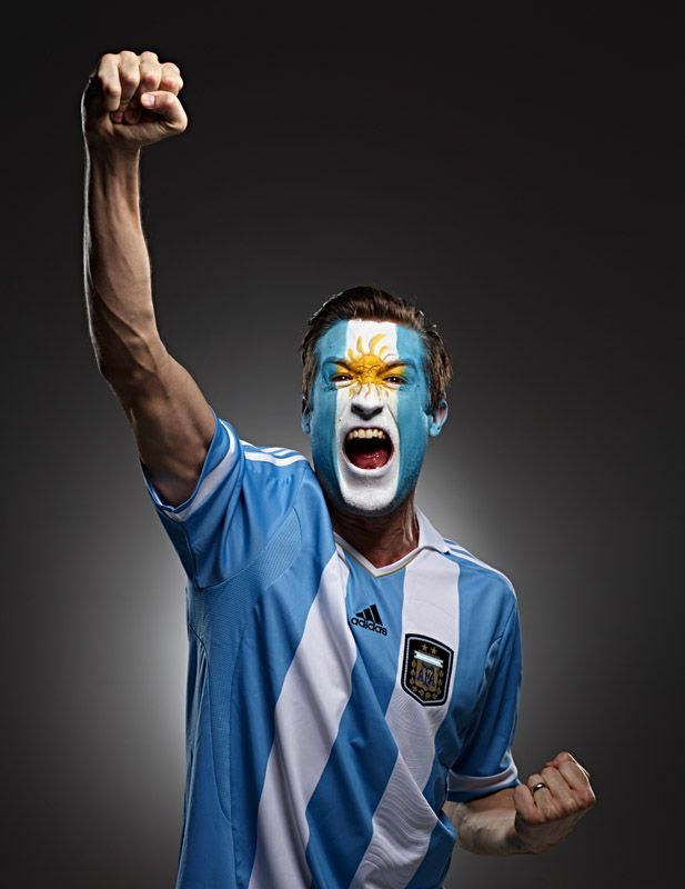 Argentina Futbol soccer fan face paint from Argentina photo by Monte Isom