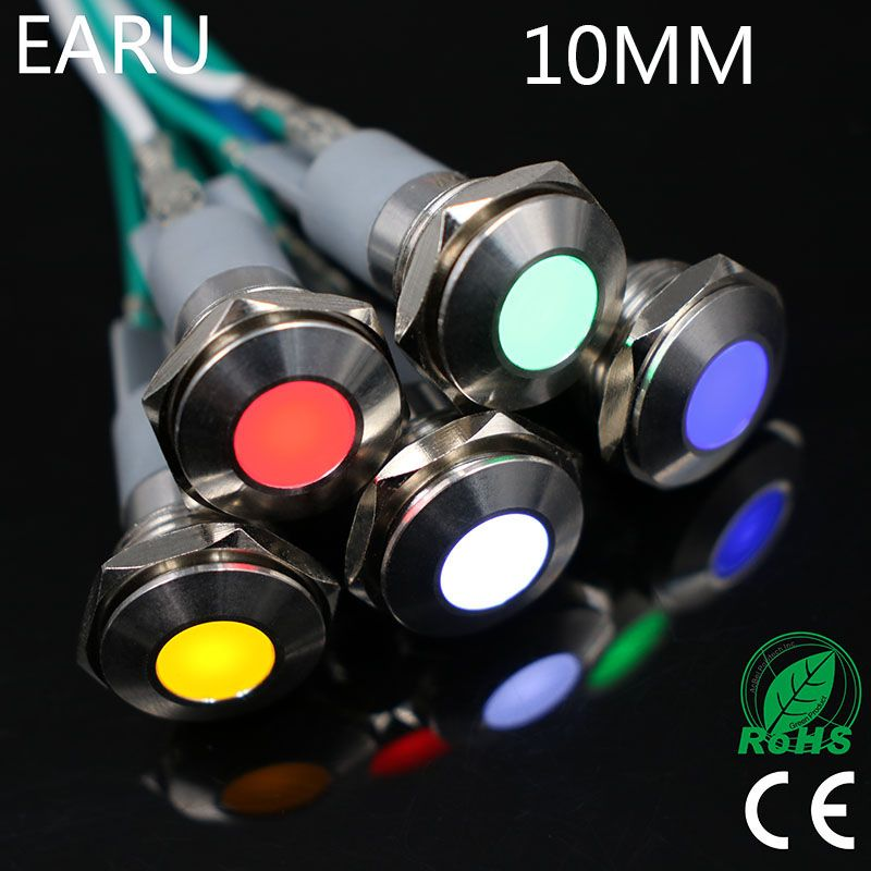 10mm Led Metall Kontrollleuchte Wasserdicht Ip67 Signal Lampe 3 V 5 V 6 V 9 V 12 V 24 V 110 V 220 V Rot Gelb Blau Grun W Indicator Lights Lead Metal Blue Green