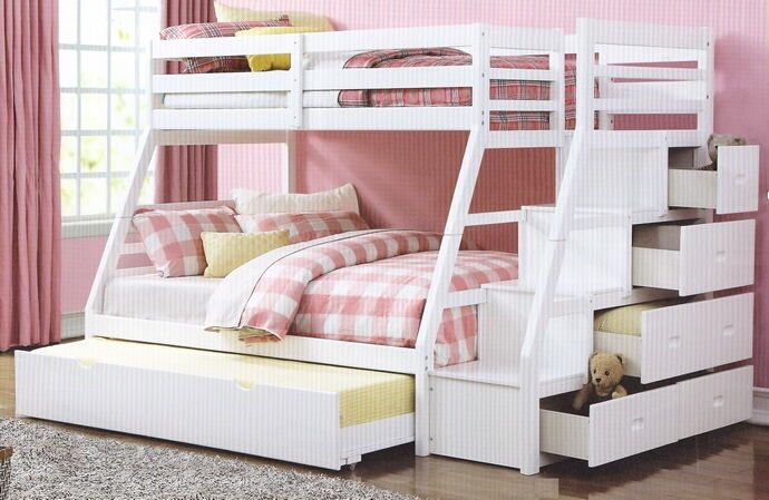 Acme 37105 Jason White Finish Wood Twin Over Full Bunk Bed