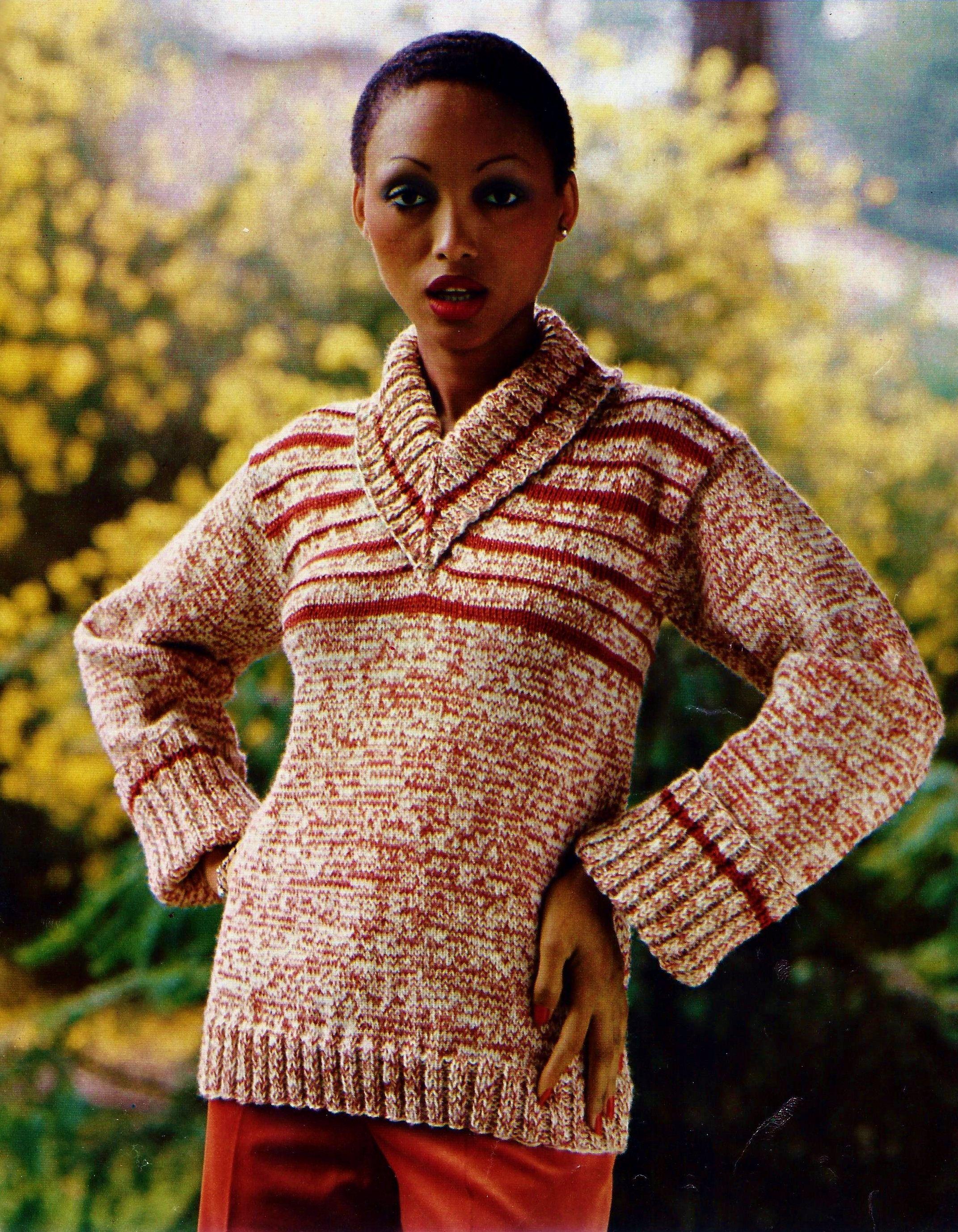 V-Neck Shawl Collar Pullover Sweater Vintage Knitting Pattern ...