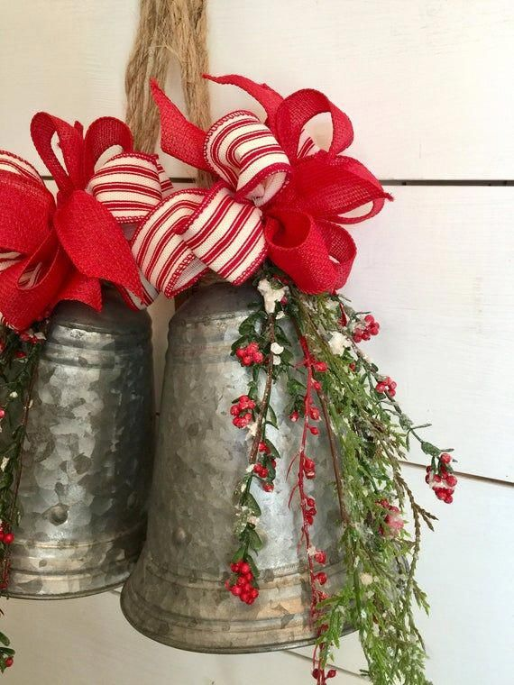 Large silver bells, galvanized Christmas bells, farmhouse Christmas decor, rustic Christmas ...