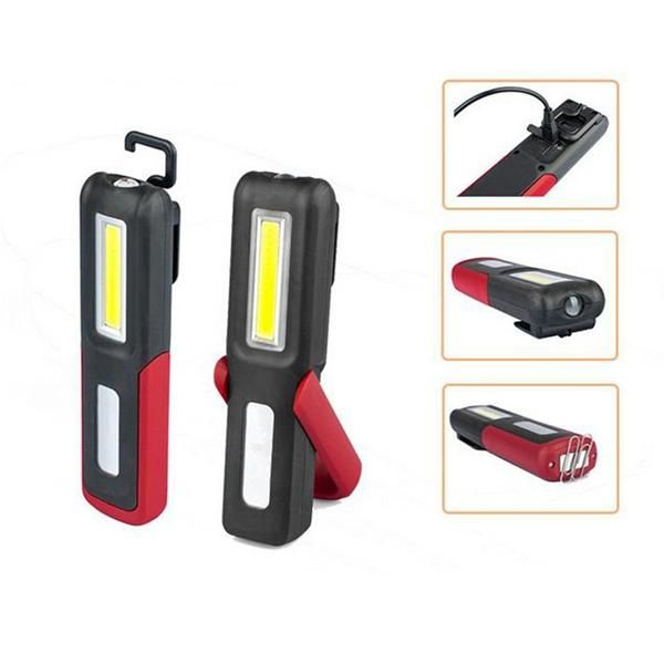 USB Rechargeable COB LED Work Light Lamp Magnetic Flashlight Torch With Hook 3W