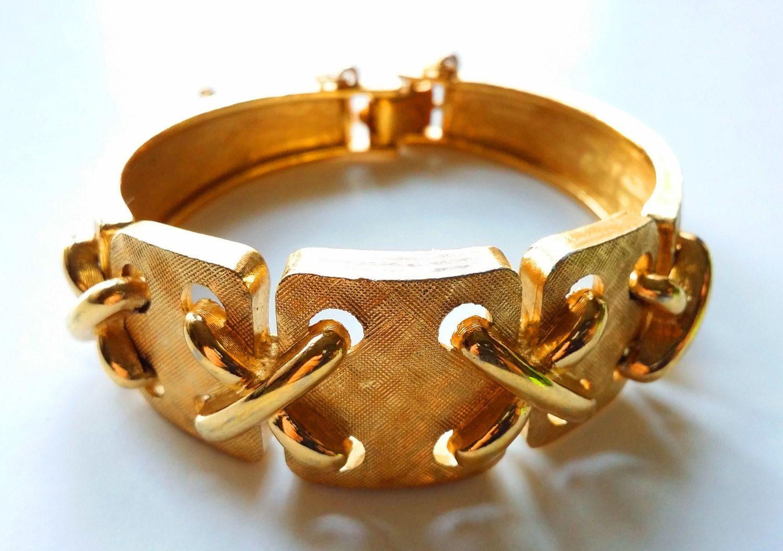Monet X Gold Tone Square Link Bracelet Vintage Designer Costume
