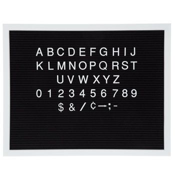 Black Felt Letterboard with White Letters - 20 x 15 3/4   Bar Design ...