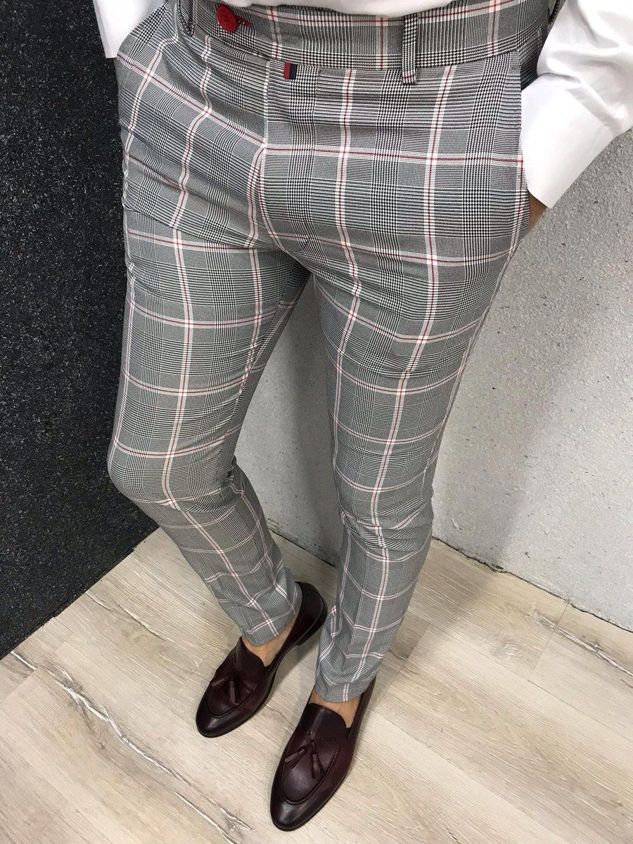 Kingston Gray Plaid Slim Pants Pants Outfit Men Mens Plaid Pants Mens Dress Pants [ 1200 x 900 Pixel ]