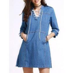 #trendsgal.com - #Trendsgal Stand Neck 3 4 Sleeve Retro Lace Up Dress - AdoreWe.com