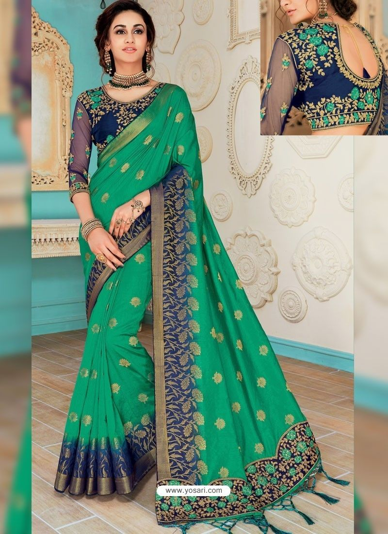 d7205b70f3a1d9 Dark Green Raw Silk Heavy Embroidered Designer Saree With Readymade Blouse