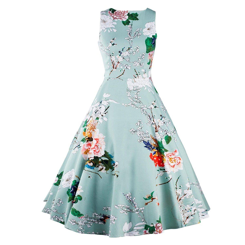 Luxur women dress vintage style floral prints us us dress swing