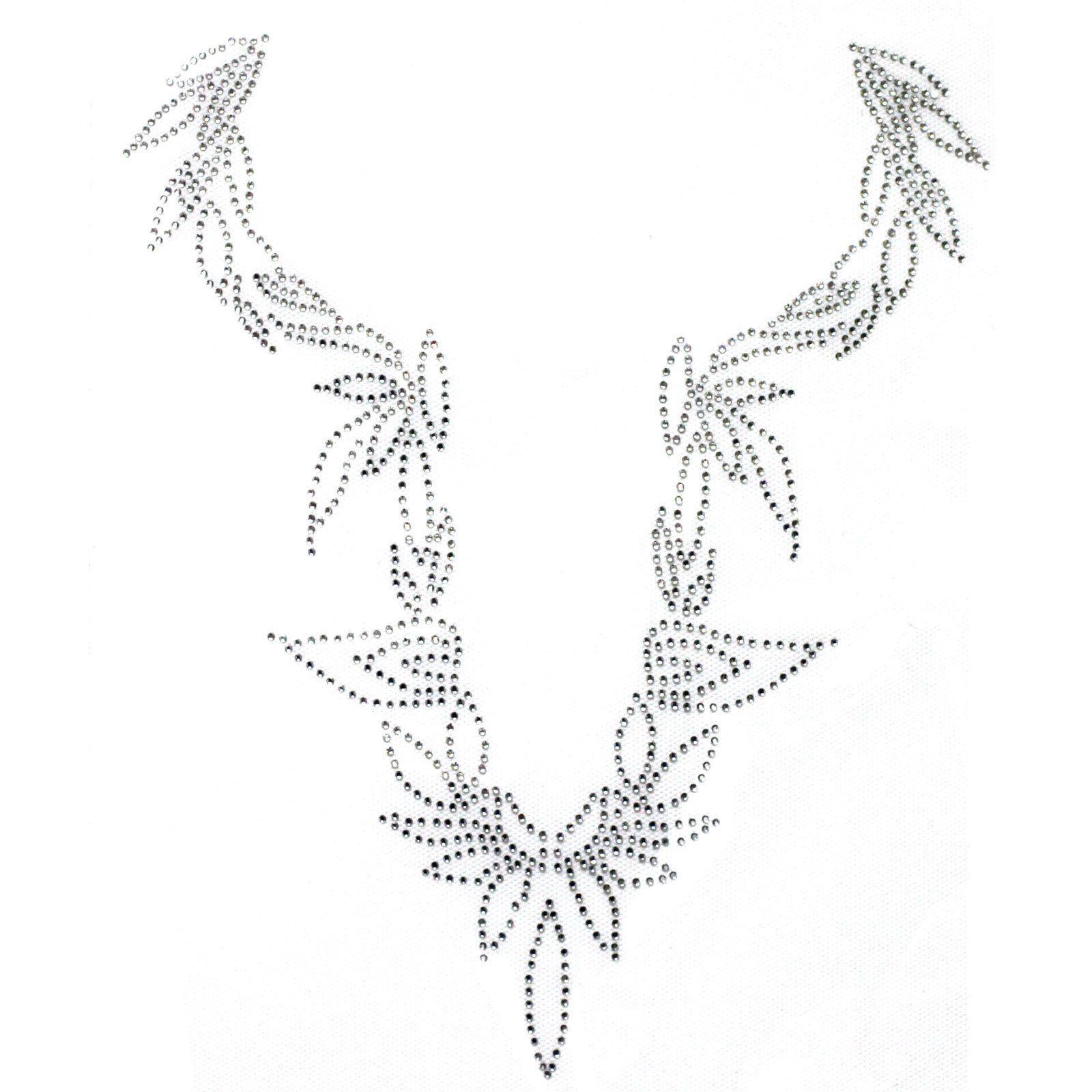 Rhinestone Iron On Transfer Hot fix Motif Petals v line deco Fashion Design