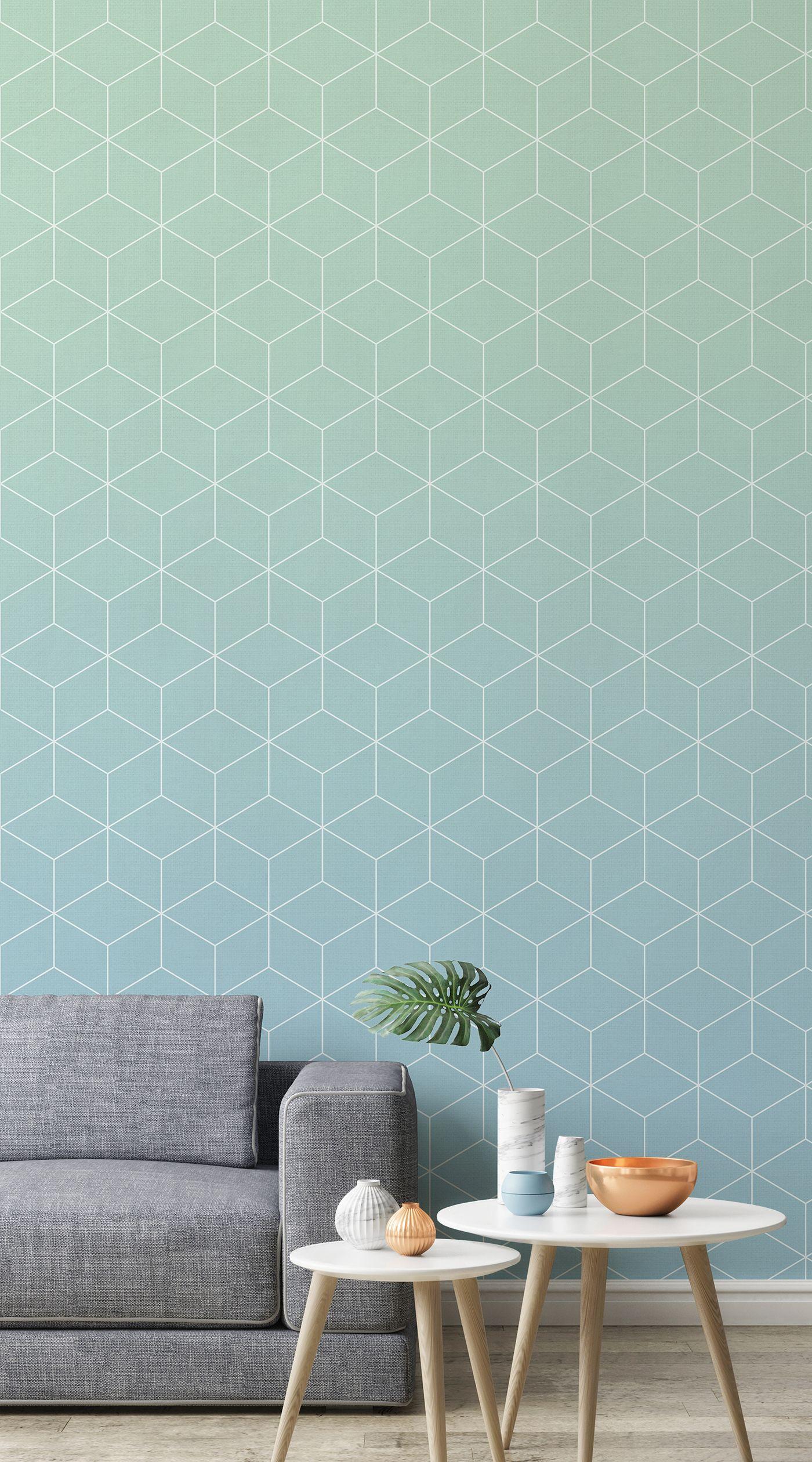 Aquamarine Patterned Ombre Wallpaper Mural Murals Wallp
