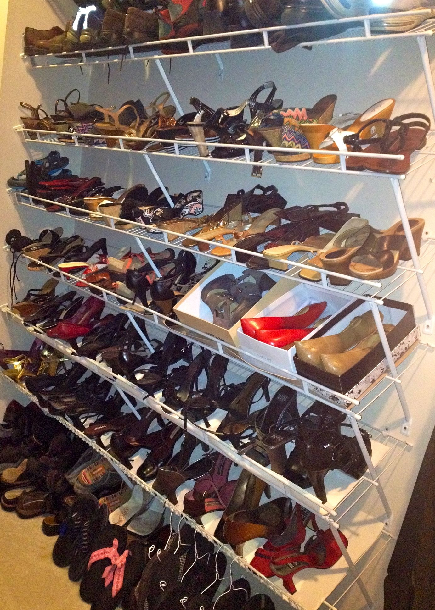 Closet Shoe Organization The Hubs Replaced A Wall Of Generic Wire Racks For Hanging Clothes With Multiple Rows Shelving Shoes