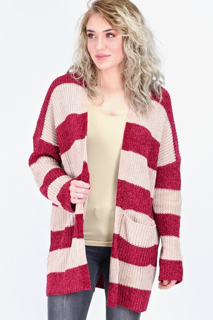 3e514cef078708 Chenille Striped Chunky Knit Cardigan  Taupe Burgundy  in 2019 ...